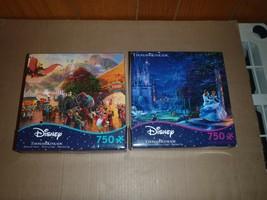2 Thomas Kinkade Disney Dumbo Cinderella Puzzles 750 Pieces - $28.04