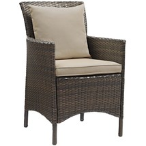 Conduit Outdoor Patio Wicker Rattan Dining Armchair Brown Beige EEI-2801... - $244.75