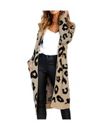Women Autumn Winter Open Stitch Warm Cardigan Leopard Print Long Sleeve ... - $47.22