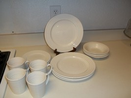 Todays Home White Swirl Dish Set ~ Plates Bowls Cups ~ 16 pieces - $79.19