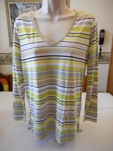 Women's Petite Liz Claiborne Citrus Squeeze Long Sleeve Shirt Size PXS NEW - $22.76