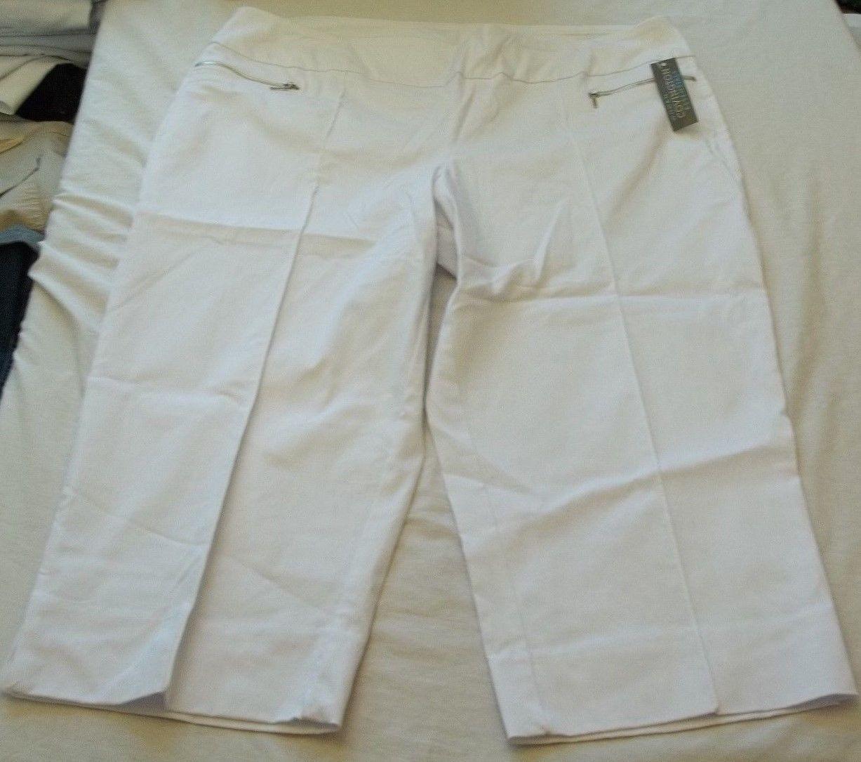 Women's Covington White Zip Capri Pants Size 18W New W Tags - $26.72