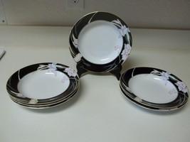 Mikasa Fine China ~ Charisma Black ~ Set of 6 Rimmed Bowls L9050 - $49.49