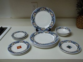 Oneida Holiday Dining Snow Valley 12 Piece Set Plates & Bowls Stoneware - $69.29