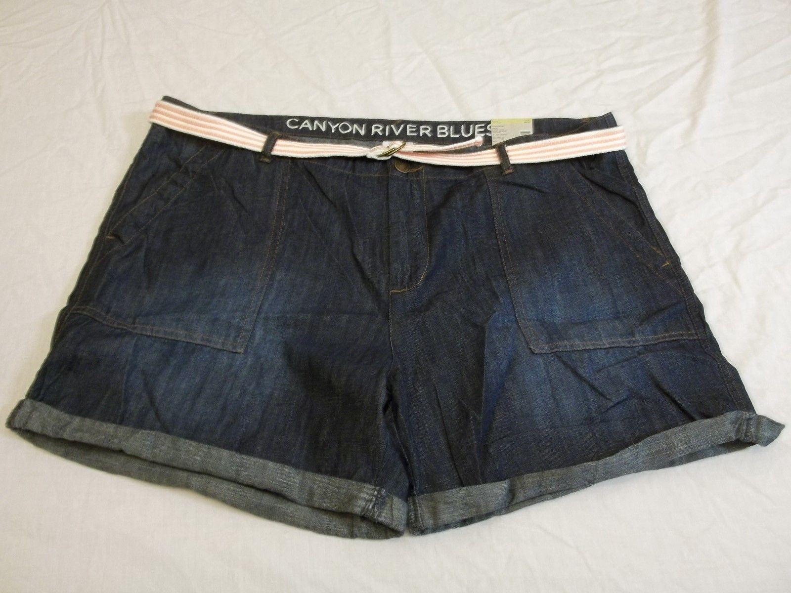 Women's Missy Canyon River Blues Size 16 Cuffed Jean Shorts W Pink Belt NEW - $21.77
