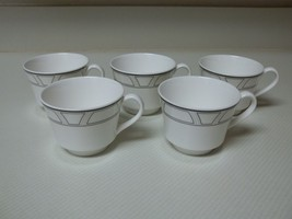 Lenox Uptown Decor ~ Set of 5 Cups ~ White & Black Fine China - $39.59