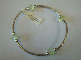 Ganz Silvertone & Yellow Beaded Stretch Bracelet ER22690 New W Tags - $8.90