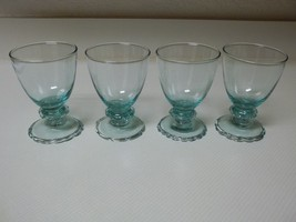 4 Green Glass Sherbet Glasses Ice Cream Glasses Footed Glasses - $39.59