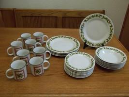 Pine Cones Stoneware Dish Set ~ 28 Piece Set ~ Plates Bowls Cups - $89.09