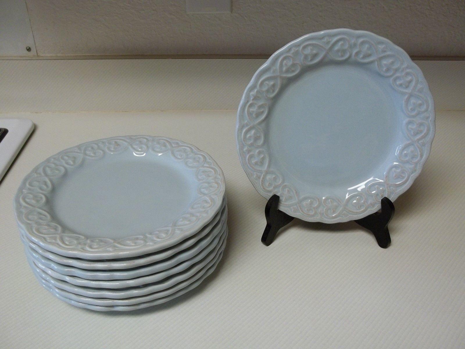 Certified International Karidesign ~ Set of 8 Salad Plates ~ Blue Embossed - $69.29