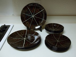 Brown Stoneware Dish Set 11 Pieces Plates & Bowls Browns Greens - $59.39
