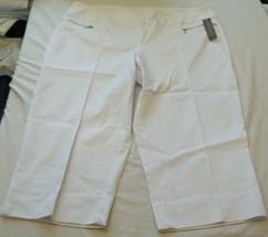 Women's Covington White Zip Capri Pants Size 22W New W Tags - $26.72