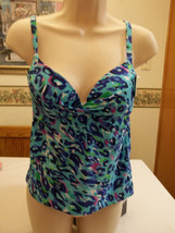 Maidenform Swimwear Tankini Top Size Small Push Up Blue Pink  New W Tags... - $21.77