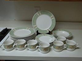 Brandywine Stoneware Dish Set 21 Pcs #8820 Plates Cups Bowls Trees Garde... - $89.09