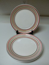 Gibson Everyday Stoneware ~ 4 Piece Dinner Plates ~ Pink Yellow & Brown Rings - $39.59