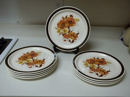 Royal China Sebring Ohio ~ Floral Stoneware ~ 8 Dinner Plates ~ Browns - $69.29
