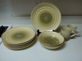Gibson Everyday Green & Brown Swirl Stoneware Dish Set ~ 10 Pieces  - €64,98 EUR
