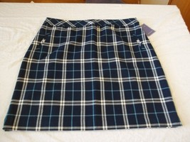 Women's Missy Laura Scott New Blue Plaid Skirt Size Medium NEW W Tags - $29.69