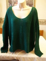 Women's Canyon River Blues Slouchy Cable Knit Sweater Green LARGE NEW - $29.69