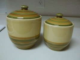 Linens N Things Ceramic Green & Brown Canisters ~ 2 Canisters With Lids - $49.49