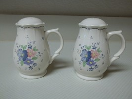Nikko Japan Dauphine Salt & Pepper Shakers Blue & Flowers Stoneware - $21.77