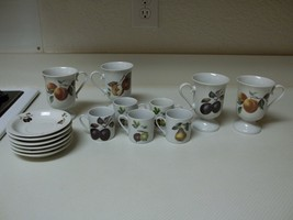 Cordon Bleu 14 Piece Set ~ Demitasse Cups Saucers & Pedestal Cups - $59.39