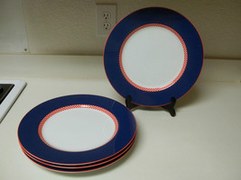 Fitz and Floyd Chequers Plus ~ Set of 4 Dinner Plates ~ Excellent  - $69.29