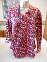 Women's Laura Scott Button Front Blouse Shirt Long Sleeve Pink Flowers M... - $29.69