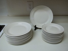 Gibson Stoneware White Bands ~ 23 Piece Plate Set ~ Dinner & Salad - $138.59