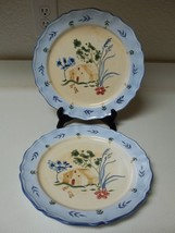 Waverly Stoneware 2 Dinner Plates Provence Blue W House Floral Scalloped... - $29.69