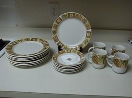 Oneida Bombay Stoneware Dish Set ~ 19 Piece Set ~ Plates Bowls Cups - $118.79