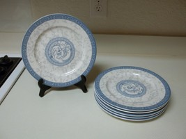 Cames Durable China Blue White Gray Set of 6 Dinner Plates 9 3/8 Inch - $74.24