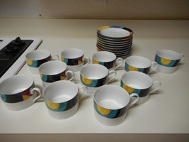 Mikasa California Currents Set of 11 Cups & 10 Saucers Excellent Condition - $66.32
