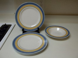 Coventry Amadora Blue Set ~ 3 Dinner Plates & 1 Rimmed Soup Bowl - $42.56