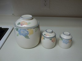 Mikasa Garden Poetry Canister Set ~ 3 Canisters With Lids  - $44.54