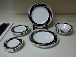 Epoch On The Go Swing  Pattern ~ 14 Piece Fine China Black Purple Blue - $74.24