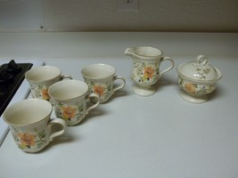 Mikasa Heritage Olde Tapestry ~ Creamer Sugar W Lid & 4 Cups Floral Ston... - $49.49
