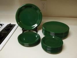 Green Stoneware Dish Set ~ 17 Piece Set ~ Dinner & Salad Plates & Saucers - $98.99