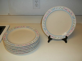 Tienshan Calais Stoneware ~ Set of 7 Dinner Plates ~ Flowers ~ Pink Blue... - $69.29