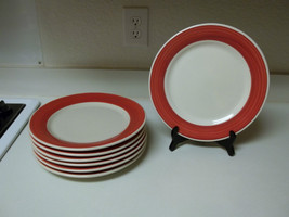 Ultima China ~ Red Rimmed Stoneware Dinner Plates ~ Set of 7 - $59.39