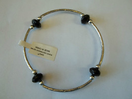 Ganz Silvertone & Black Beaded Stretch Bracelet ER22690 New W Tags - $8.90