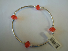 Ganz Silvertone & Red Beaded Stretch Bracelet ER22690 New W Tags - $8.90