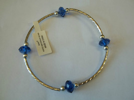 Ganz Silvertone & Dark Blue Beaded Stretch Bracelet ER22690 New W Tags - $8.90