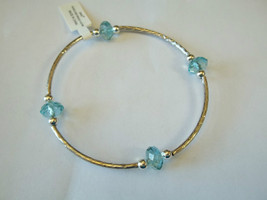Ganz Silvertone & Light Blue Beaded Stretch Bracelet ER22690 New W Tags - $8.90