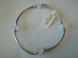 Ganz Silvertone & Clear Beaded Stretch Bracelet ER22690 New W Tags - $8.90