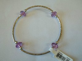Ganz Silvertone & Purple Beaded Stretch Bracelet ER22690 New W Tags - $8.90