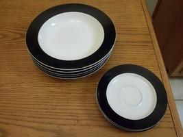 Whole Home Colormate ~ 8 Piece Bowl & Saucer Set ~ Cobalt Blue  - $49.49