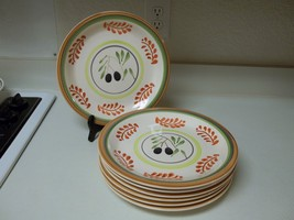 Gibson Everyday Housewares Stoneware ~ 7 Dinner Plates ~ Olive Charm Brown  - $59.39