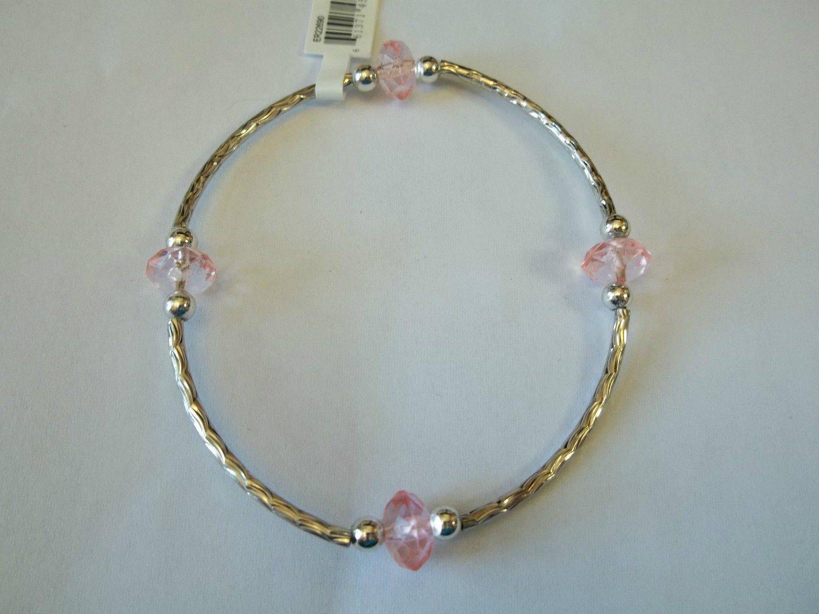 Ganz Silvertone & Pink Beaded Stretch Bracelet ER22690 New W Tags