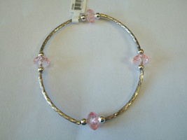 Ganz Silvertone & Pink Beaded Stretch Bracelet ER22690 New W Tags - $8.90